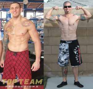 "Two of my athletes – pro MMAist Bruno Carvalho after a recent Team Golden Glory workout & ""regular guy"" Aaron…after losing 35+ pounds!"